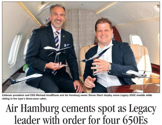 Air Hamburg cements spot as Legacy leader with order for four 650Es