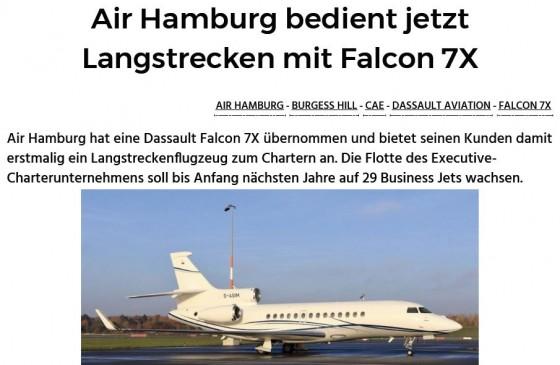 Air Hamburg bedient jetzt Langstrecken mit Falcon 7X