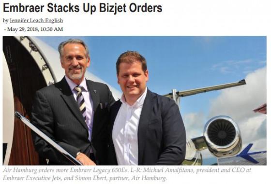 Embraer Stacks Up Bizjet Orders